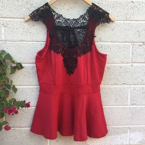 Red & Black Lace Top